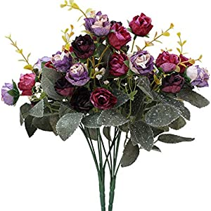 Gatton 7 Branch 21 Heads Artificial Silk Fake Flowers Leaf Rose ding Floral Decor Bouquet,Pack of 2 (Purple Coffee) | Model WDDNG - 284 | 115