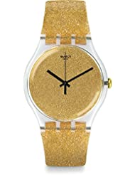 Swatch Womens 41mm Gold-Tone Plastic Band & Case Quartz Analog Watch SUOK122