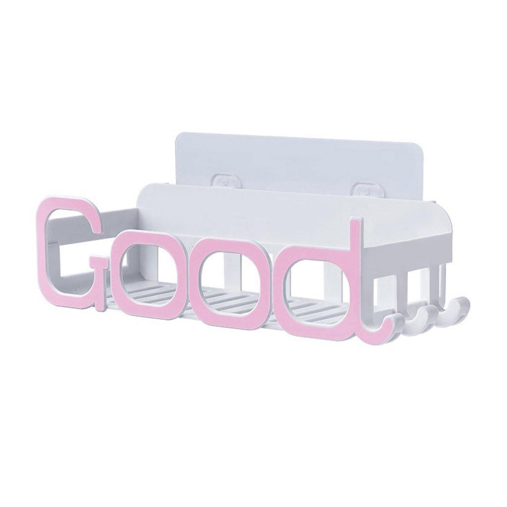 HY Bathroom Shelf Bathroom Vanity Suction Cup Storage Rack Wall Mount (Color : Pink)