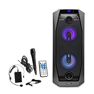 Pyle Wireless Bluetooth Portable Speaker with Wireless Headset Microphone | Wired Handheld Microphone | Karaoke Machine | Flashing DJ Lights, Built-in Rechargeable Battery, USB/Micro SD/FM Radio by Sound Around