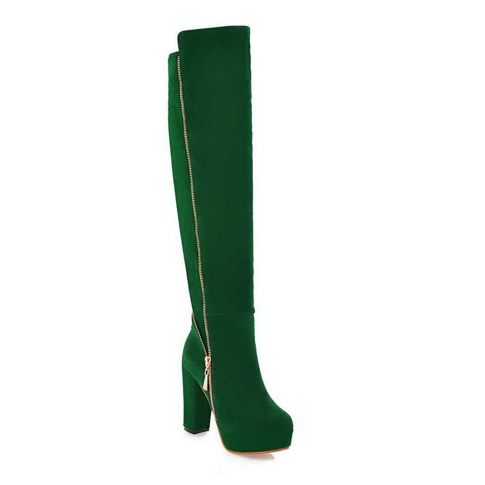 WeenFashion Womens Closed Round Toe High Heel Platform Frosted PU Short Plush Solid Boots with Zipper, Green, 10 B(M) US