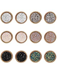 Lullabb 6 Pairs Women Crystal Druse Stud Earrings Hypoallergenic Geometry Shiny Druzy Ear-ring Men boys Fashion Jewelry for girls