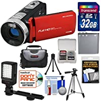 Bell & Howell Fun Flix DV50HD 1080p HD Video Camera Camcorder (Red) with 32GB Card + Battery + Case + Tripods + LED Video Light + Kit