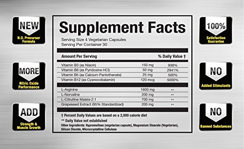 Vitamorph Labs N.O. 3000 Nitric Oxide Booster for Lean Muscle Mass and Pumps L Norvaline, Grapeseed, L Citrulline Malate, L Arginine, B Vitamins, 120 Vegetarian Capsules