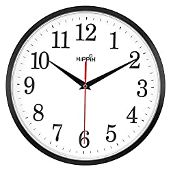 HIPPIH 10'' Silent Wall Clock Non-ticking Digital round clock easy to read with large number, battery operated, home/office/school clock