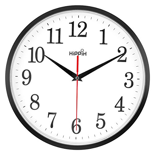 HIPPIH 10'' Silent Wall Clock Non-ticking Digital round clock easy to read with large number, battery operated, home/office/school clock ()