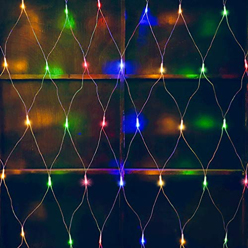 woohaha LED Net Mesh Fairy String Decorative Lights 192 LEDs 9.8ft x 6.6ft with 30V Safe Voltage for Christmas Outdoor Wedding Garden Decorations (192LED, Multicolor) (Lights Netting Christmas)