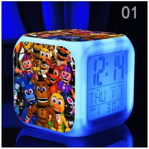(FREE USB Cable and Button Batteries) Five Nights at FREDDY's Cartoon Games Freddy's Bear Action Figure 7 Colors Change Digital Alarm LED Clock Cartoon Night Colorful Toys for Kids (Style 1)