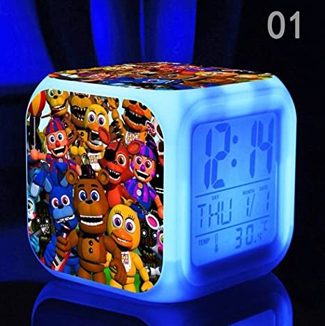 (FREE USB Cable and Button Batteries) Five Nights at FREDDY's Cartoon Games  Freddy's Bear Action Figure 7 Colors Change Digital Alarm LED Clock