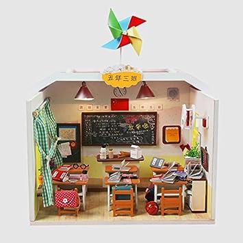 Yiliay Graduierung Geschenk Miniatur Haus Klassenzimmer Holz DIY Puppenhaus  Dollhouse Kit Mit Deckel