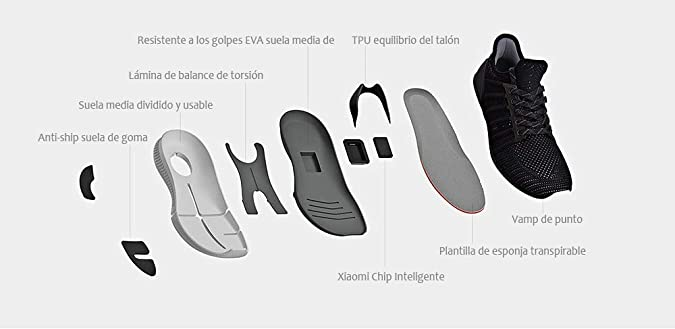 Xiaomi MIJIA - Zapatillas Running con Chip Inteligente (Negro, 41): Amazon.es: Zapatos y complementos