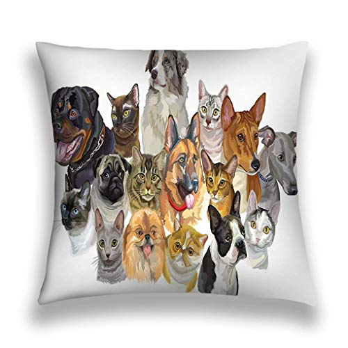 Pretty bb Throw Pillow Cover Pillowcase Set Portraits Dogs Rottweiler Australian Shepherd Pug Greyhound German Shepherd Cats Thai Burmese Maine Sofa Home Decorative Cushion Case 18