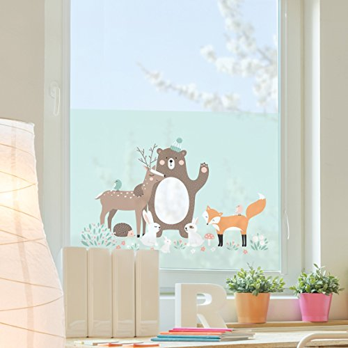Window Mural Forest Friends with forest animals blue window sticker window film window tattoo glass sticker window art window décor window decoration Size: 56.7 x 85 inches by PPS. Imaging