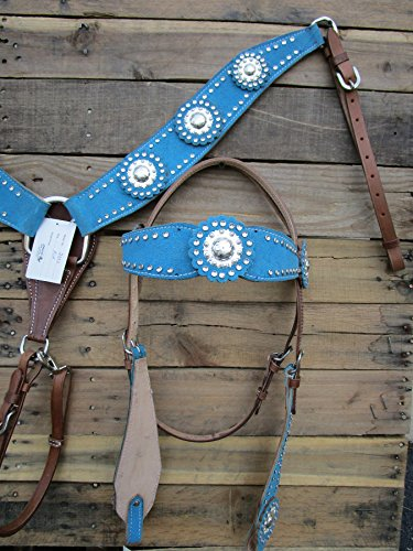 WESTERN HEADSTALL BREASTCOLLAR SILVER SHOW PARADE EVENT BLUE TURQUOISE HORSE LEATHER BRIDLE SET - Billy Cook Show Saddle