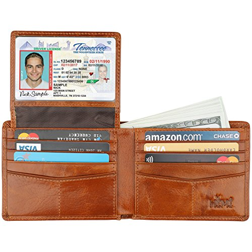 Wallet for Men-Genuine Leather RFID Blocking Bifold Stylish Wallet With 2 ID Window (Tan) ()
