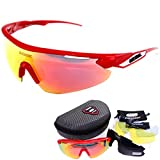 Queshark TR90 Frame Polarized Glasses Sunglasses For Cycling Racing Bicycle 5 Lens (Color 03, 1.8)