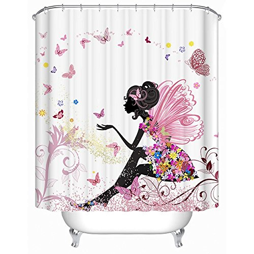GWELL Trendy Pink Flower Fairy Girl with Butterfly Shower Curtain Polyester Fabric Waterproof/Mildew Resistant Bathroom Curtain with 12 Hooks (70.86X78.74-Inch, #17)