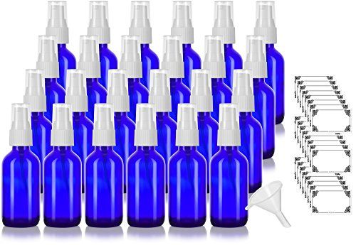(Cobalt Blue 2 oz/60 ml Glass Boston Round White Treatment Pump Bottle (24 pack) + Funnel and Labels for cosmetics, serums, beauty oils and blends, aromatherapy, cosmetic food grade, bpa free)