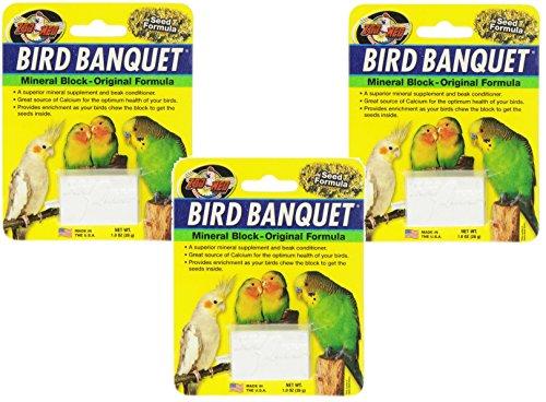 Zoo Med Mineral Block Original Formula Banquet Bird Food, 1-Ounce (3 Pack) (Zoo Med Bird)