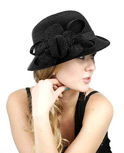 NYfashion101 Side Flip Cloche Bucket Hat w/ Woven Flower & Ribbon Accent, Black