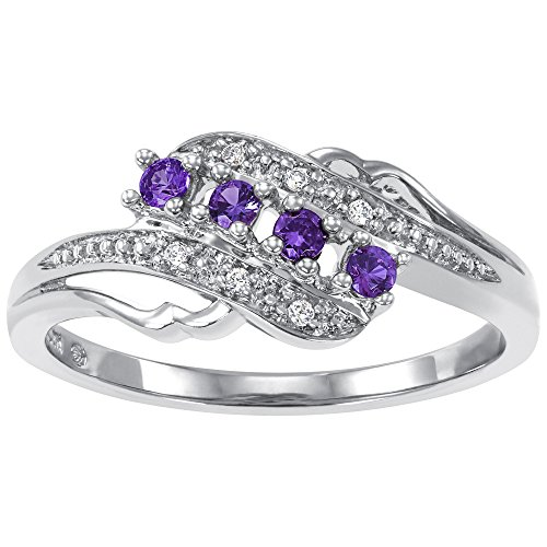 ArtCarved Angel Heart Simulated Amethyst February Birthstone Ring, Sterling Silver, Size (Sisters Birthstone Heart Ring)