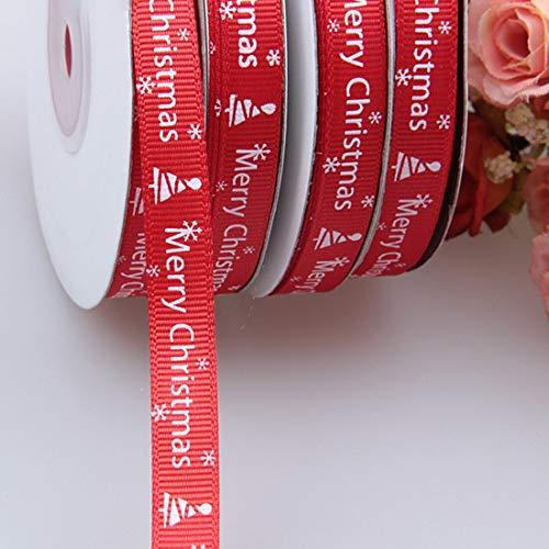 Ribbons - 25 Yards 1cm Red Thread Printed Ribbon Handmade Merry Christmas Gift Wrap Diy Decoration Material - Floral Roll Grosgrain Cake Wrap Christmas Shock Ribbon Heat Tape Gold Seal Handmade