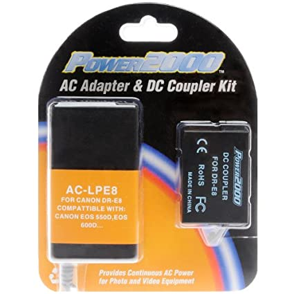 Power2000 ACK-E8 AC Adapter & DC Coupler Kit for Canon Cameras that use a LP-E8 Battery for EOS Rebel T2i, T3i, T4i Camera Batteries at amazon