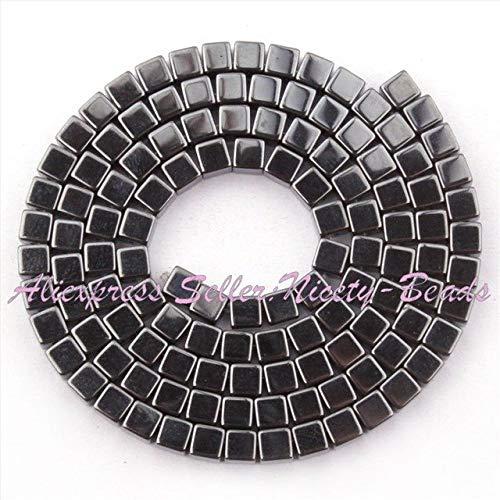 - Calvas 3,4,6,8,10mm Natural Square Smooth Hematite Stone Beads Spacer Strand 15