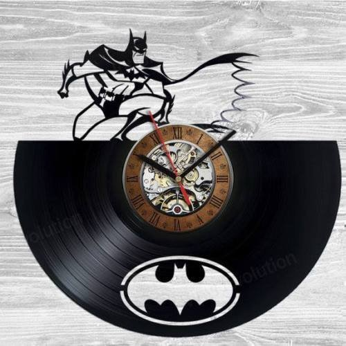 Batman Room Accessories Vinyl Record Designer Wall Clock - Decorate your home with Modern DC Comics Art - Best gift for man, woman, boyfriend and girlfriend - Win a prize for feedback