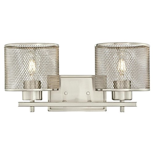 Westinghouse 6327700 Morrison Indoor Wall Fixture, Brushed Nickel Finish with Mesh Shades, Two - Light Two Sconce Nickel