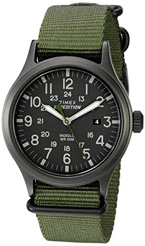 (Timex Men's TW4B04700 Expedition Scout Green Nylon Slip-Thru Strap Watch)