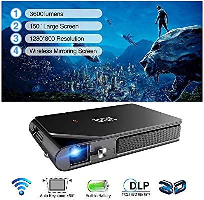 Mini Pico Video Projector DLP 1080P Wireless Dual WiFi 3D 3600 Lux Home Outdoor Movie Gaming Portable Multimedia Proyector Pocket Airplay Miracast USB ...