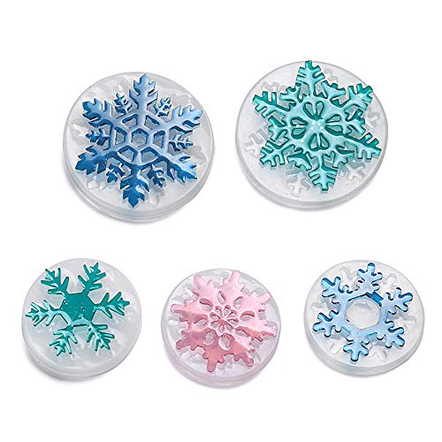 (5 Pcs Snowflake Necklace Pendant Epoxy Resin Silicone Mold,Crafting Clay Molds,Jewelry Earrings Making,DIY Mobile Phone Decoration Tools)