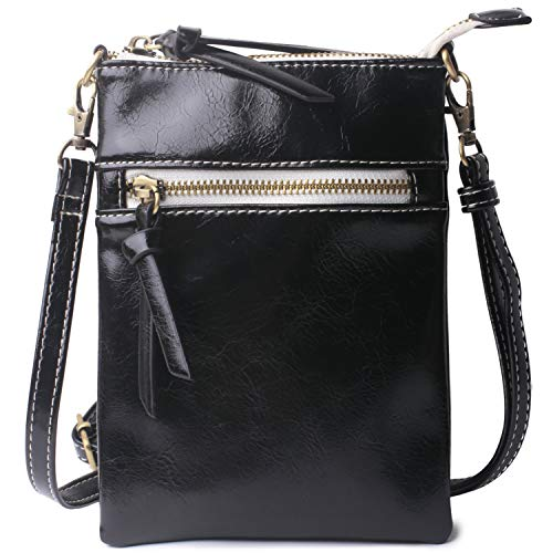 - Original Crossbody Cell Phone Purse - Women PU Leather Multicolor Handbag with Adjustable Strap Black