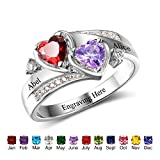 Personalized Simulated Birthstones Promise Rings for Her Engraved Names Engagement Rings Bridesmaid Gifts (6)