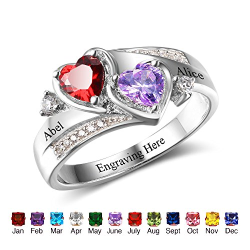 [Personalized Couples Sumilated Birthstones Promise Heart Rings Engraved Names Engagement Rings for Her (7)] (Mothers Ring Band)