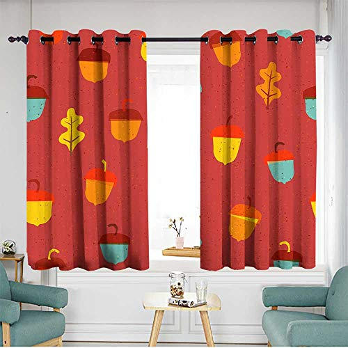 Fbdace Kids Curtains Seamless Fun Pattern with Cute Acorn 2 Room Darkening, Noise Reducing W 72