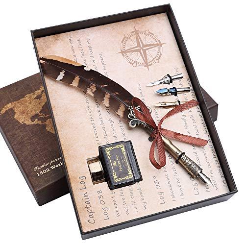 Hethrone Schreibfeder Dip Pen Natürliches Muster Feder Kalligraphie Ink Pen Set PA-53-1 (Braun)