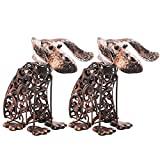 Solar Light Outdoor/Garden Decorative Bronze Metal Silhouette Animal- BroGarden Cute Dog (2 Packs) Figurine Decor