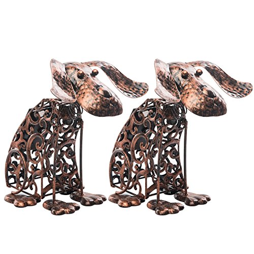Solar Light Outdoor/Garden Decorative Bronze Metal Silhouette Animal- BroGarden Cute Dog (2 Packs) Figurine Decor by BroGarden