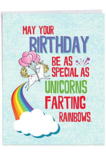- Jumbo Humorous Birthday Greeting Card: Unicorns and Rainbows Showing a gassy unicorn, with Envelope (Large Size: 8.5 x 11 Inch) J6892BDG