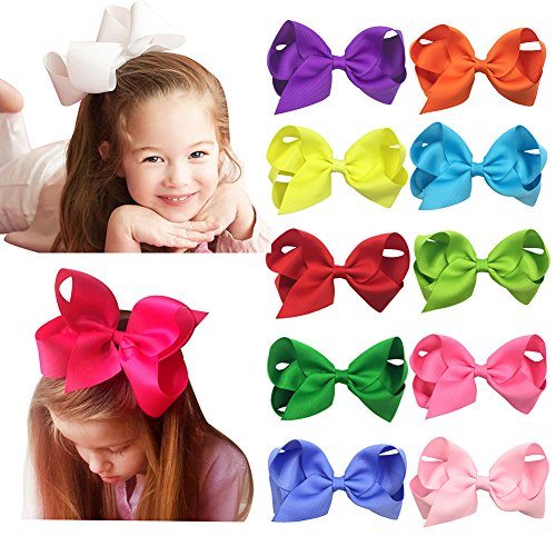 Shemay Grosgrain Ribbon Boutique Big Hair Bows Alligator Clips for Baby Girls Toddlers Teens Women Kids Barrettes 20pcs