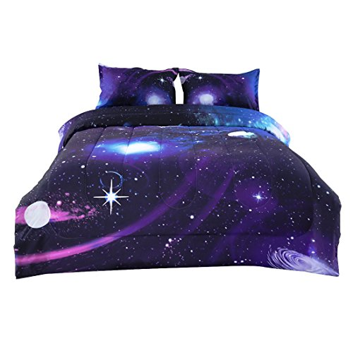 uxcell Full 3-Piece Galaxies Purple Comforter Sets - 3D Printed Space Themed - All-Season Down Alternative Quilted Duvet - Reversible Design - Includes 1 Comforter, 2 Pillow Shams