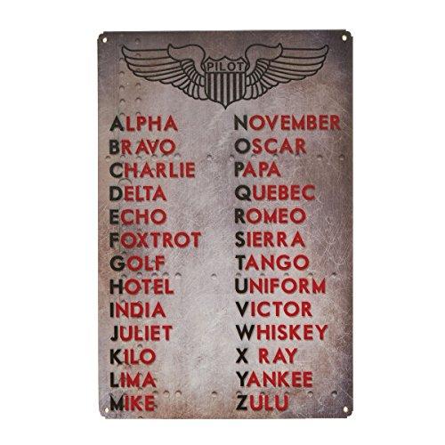 Sporty's International Phonetic Alphabet Metal Sign Aviation Decor Aircraft Wall Art