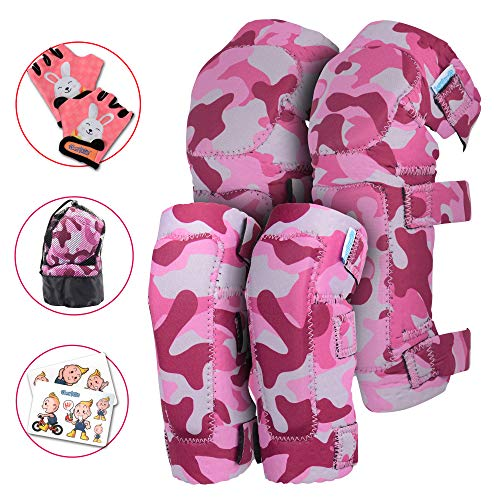 Innovative Soft Kids Knee and Elbow Pads with Bike Gloves | Toddler Protective Gear Set w/Bag | Roller-Skating, Skateboard, Bike for Children Boys Girls ((2nd Gen) Pink Camo, Small (2-4 ()
