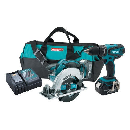 Makita XT250-R 18V LXT Cordless Lithium-Ion 1/2 in. Hammer Drill and Circular Saw Kit (Certified Refurbished)