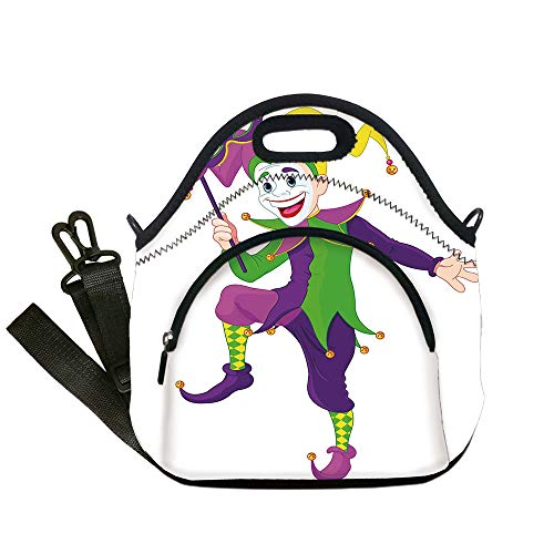 Insulated Lunch Bag,Neoprene Lunch Tote Bags,Mardi Gras,Cartoon Style Jester in Iconic Costume with Mask Happy Dancing Party Figure,Multicolor,for Adults and children -