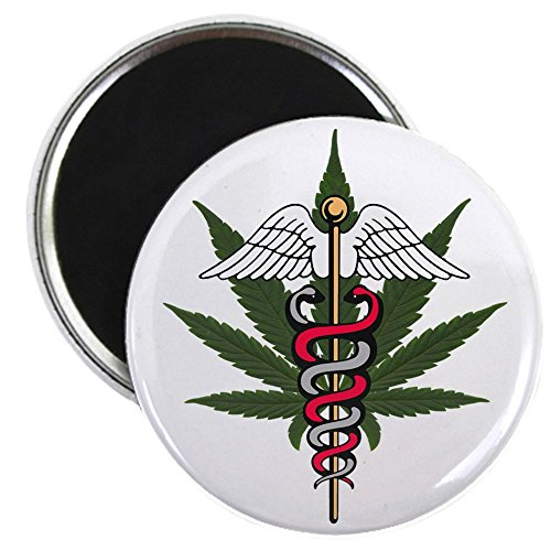 2.25 Inch Magnet Medical Marijuana Caduceus Symbol