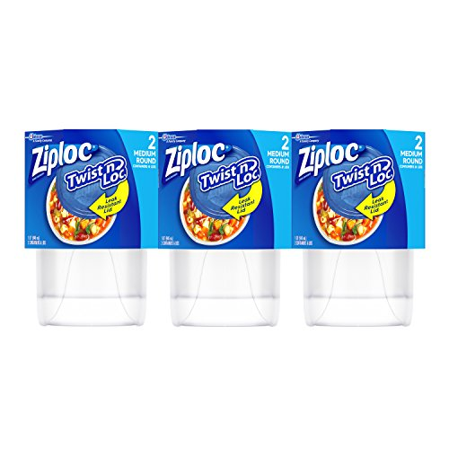 Ziploc Twist ´n Loc Container, Medium, 6 Count (Soup Storage)