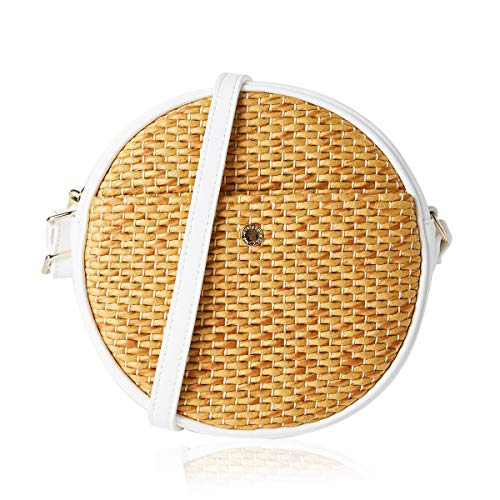Circle Straw Crossbody Bags for Women Woven Cross Body Bag Shoulder Satchel (One,Round/Ivory)